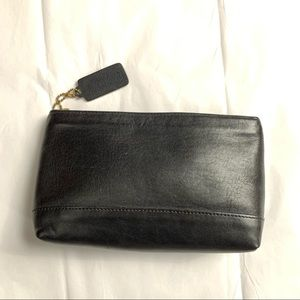 Vintage Coach Black Leather Cosmetic Clutch USA